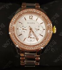 NEW Bulova 98N100 Women's TwoTone Watch, Stainless Steel / Rose Gold / Crystal