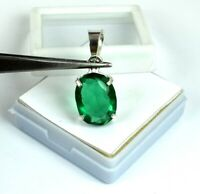 Oval 925 Sterling Silver Pendant Muzo Emerald 13.00 Ct Natural Certified G8026
