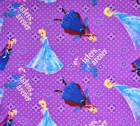 Disney Frozen Sisters forever Anna Elsa Purple 100% cotton fabric by the yard