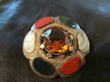 Citrine & Multi Agate Brooch,1880s Fab Victorian Large Solid Silver,