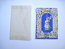Sweet Victorian Valentine Card w/ Gold Paper Lace & Bright Blue Background  *