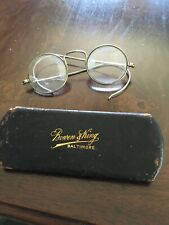 Vintage Round Wire Frame Eyeglasses And Case From Baltimore Optician