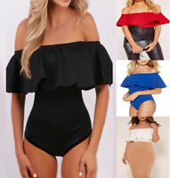 Womens Ladies Ruffle Frill Bardot Off Shoulder Leotard Bodysuit Top Size UK 8-14