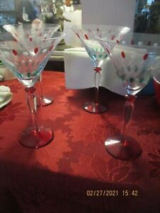 SET OF 4  MARTINI GLASS / GLASSE WITH RED AND GREEN DROPS RED STEM 8 X 5
