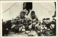 Alaska Eskimos Making Shoes Mukluks Johnston Real Photo Postcard