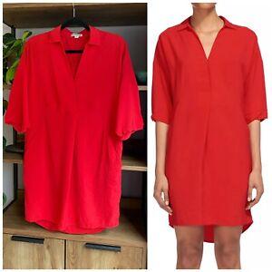 Whistles Size S / UK 8 - 10 Raspberry Red Lola Shirt Tunic Dress VGC Pockets