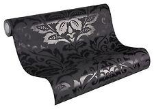 2554-26) Design Vliestapete FLOCK Barock Tapete Ornament  schwarz  glänzend