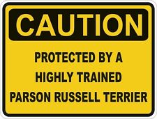1x Caution Protected By Parson Russell Terrier Warning Funny Sticker Dog Pet