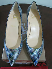 NIB Christian Louboutin 55 Patent Leather Navy White Shoes Pumps 40 9 Italy