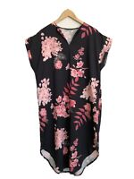 3X Dress Black Floral Short Sleeve Vneck Belt Loop Midi