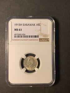 Sarawak Rajah Brooke 10 cents 1915 H uncirculated NGC MS61