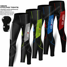 Mens Compression Cycling Tights Trouser Coolmax Padded Cycle Leggings Long Pants