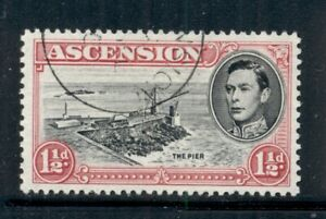 ASCENSION 42C SG40df Used 1953 1&1/2p red KGVI The Pier Perf 13 Cat$7