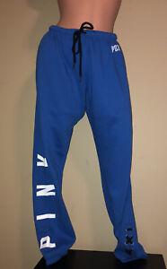 Victoria Secret PINK Blue Football Lace Up Ankle Lounge Sweat Pants Sz MED ~XLNT