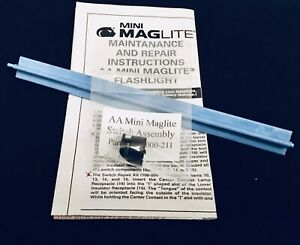 """Authentic """"AA"""" Mini Maglite Switch Assembly #108-000-211. w/ Installation Tool"""