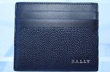New Bally Men's Black Credit Card Case Wallet CC Holder Leather