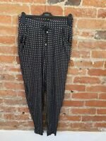 NEXT WOMENS JERSERY PULL UP NAVY  PATTERN TROUSERS SIZE: 8L BNWT RRP £20