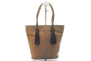*Rank BC* Auth FENDI Zucca Pattern Tote Hand Bag Shoulder Bag Fringe Brown A0038
