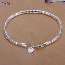 wholesale sterling solid silver fashion charms 4mm snake chain Bracelet XCSB159