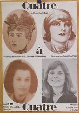 Affiche Originale 1978 ✤ Quatre à Quatre / M.Garneau ✤ Théâtre Aubervilliers