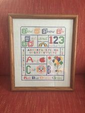 Professionally Framed Vintage Cross Stitch Now I Know My ABC Baby Or Child Room