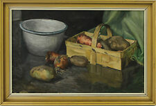 A framed 1950's 60's still life oil painting. Kitchen scene. English