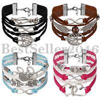 Men Women Infinity Love Heart Tree of Life Friendship Leather Charm Bracelet