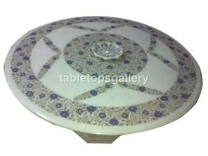"48"" Marble Dining Table Top Lapis Floral Inlay With 28"" Stand Living Decor W357"