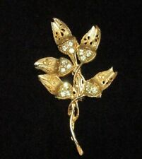 Weiss Signed Pin Brooch Rhinestone Crystal Gold Tone Flower Vintage Antique CHIC