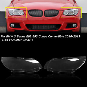 2PC L&R Headlight Lens Cover For 10-13 BMW E92 E93 Coupe LCI 328i 325i 335i 3.0L
