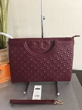 Tory Burch Fleming Large Zip Pouch Wristlet Clutch   Bag In Port Royal