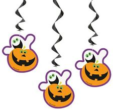 3 Halloween Boo Ghost Pumpkin Party Hanging Swirls Scary Fun Indoor Decorations