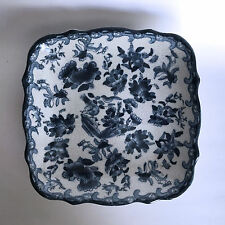 Ceramic Square Footed Fruit Dish Blue White Flower Floral Bird Design Crackle