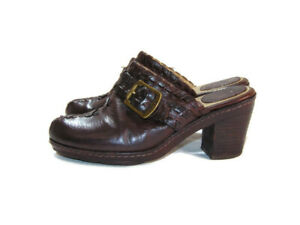 Frye Clogs Brown Leather Strap Buckle Candy Lace Womens Size 8 70570