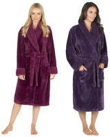 Ladies Womens Waffle Fleece Dressing Gown Luxury Shawl Robe Berry Red Purple