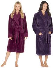 Ladies Womens Waffle Fleece Dressing Gown Luxury Shawl Robe Berry Red Purple