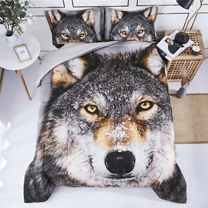 HIG 3 Piece 3D Wolf Comforter Set - Wildlife Animals and Scenery Floral Print