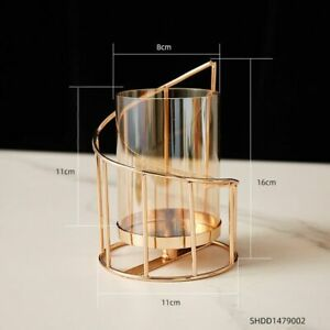 Gold Metal Candlestick Glass Vase Flowers Table Modern Nordic Home Decoration