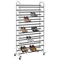 50 Pair Shoe Rack Storage Organizer 10 Tier Chorme Shoe Rack With Wheels S59