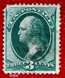 1870 US Stamps SC#136 3c Green Washington Used  CV:$33