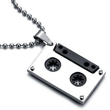 "MENDINO Men's Stainless Steel Pendant Necklace Music Cassette Tape 21.6"" Chain"