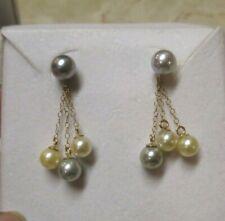 14K Yellow Gold  Gray, White & Yellow Pearl Drop Earrings