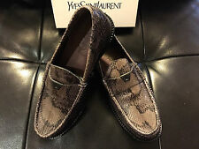 $1,6K NEW YSL SAINT LAURENT LUXURY PYTHON GRAY LOAFERS M/ITALY TAG SIZE 40 OR 42