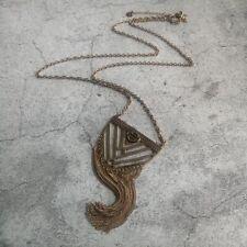 Harley Davidson® Geometric Tassel Pendant Antique Gold Tone Chain Bib Necklace