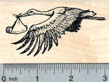 Stork with Newborn Rubber Stamp, Baby Shower Series K31414 WM