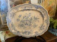 Antique English Staffordshire Transferware Platter Blue & White 15.5 inches