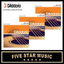 3 SETS DADDARIO EJ15 ACOUSTIC GUITAR STEEL STRINGS 10-47 NEW J15 D'ADDARIO