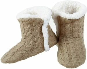 YELETE Womens Cable Knit Slippers House Booties Socks Soft Sherpa Lining Rubber