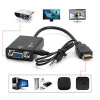 Caja De Tv Convertidor De Cable Macho A Hembra Adaptador HDMI A VGA Con Audio