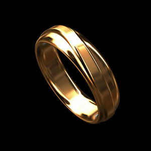 Men's Designer Solid 14K Pink / Rose Gold Comfort Fit Wedding Band 6mm Wide